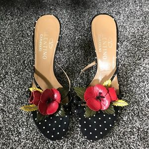 Authentic Valentino Floral Applique Heeled Sandals